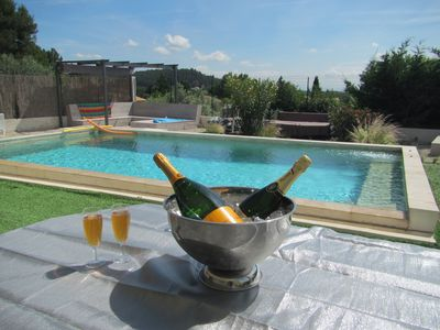 """Photo for Beautiful T2 """"Air-conditioned and heated summer pool"""" in DRC modern villa"""