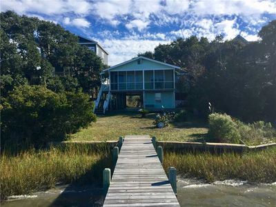 Photo for SOUND DOG: 2 BR / 2 BA soundfront with private dock in Topsail Beach, Sleeps 4