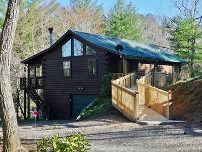 Photo for Cobra6-wheelchair friendly 3 BR/2.5B A cabin deep in forest - tranquil/private
