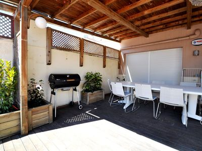 Photo for Rent apartment 110 m2, large terrace, 100m from the beach, air conditioning, parking
