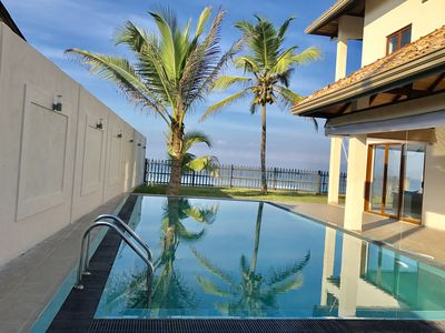 Photo for Sand Villa - New Beachfront Private Pool - Three Sea Facing Ensuite AC Bedrooms