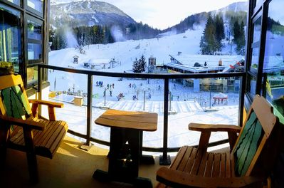 View from one of the two decks, both facing the two main mountain lifts.