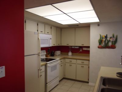 Fully equiped kitchen. Has plenty of dishes, glasswear and cooking equipment.