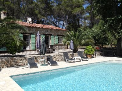 Photo for Charming stone house in a wooded park with swimming pool