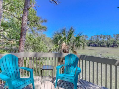 Photo for Escape to a treehouse villa with marshfront views and a beach close by!