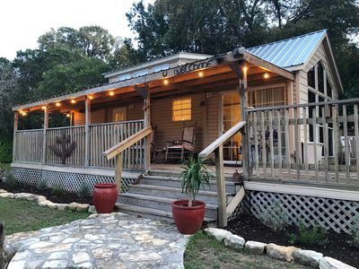 Photo for COWBOY CABIN: Lake Travis views and steps to the water for swimming or fishing