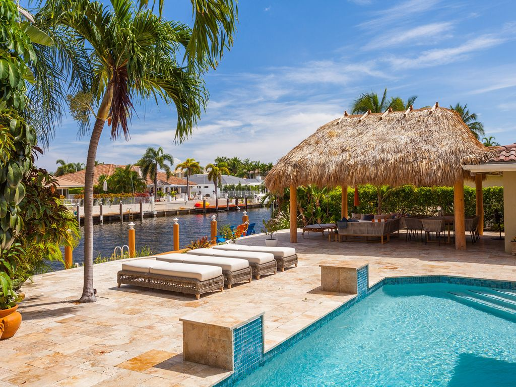 Luxury 2 story waterfront home with heated pool and tiki - Florida condo swimming pool rules ...