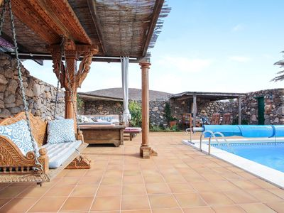 """Photo for Charming Holiday Home """"Valle de Femés"""" with Mountain View, Wi-Fi, Balcony, Terrace & Shared Pool; Parking Available"""