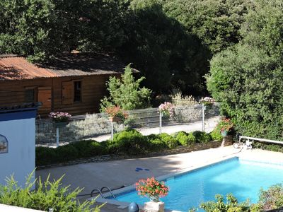 Photo for GITES DE PLOS CHALET STUDIO FOR 2 PERS. SWIMMING POOL / CLIM / WIFI / PARKING in peace