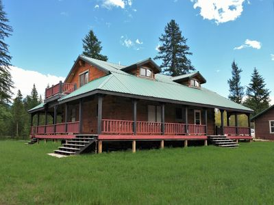 Photo for Square Log House | Sleeps 9 | WiFi | 45 Secluded Acres | Pets Welcome