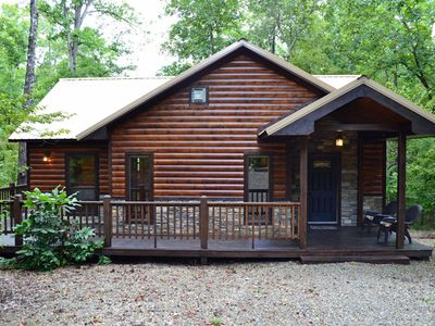 Photo for Branded Memories-Honeymoon Cabin, King Bed, Hot tub, Pond, Wifi & Fireplace