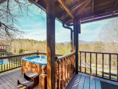 Photo for Cabin in the woods w/ private hot tub, views, paved road access - 2 dogs ok!