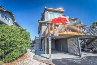 Steps from beach, ample parking.