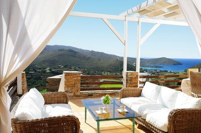 View from the veranda of the villa, equipped with outdoor furniture