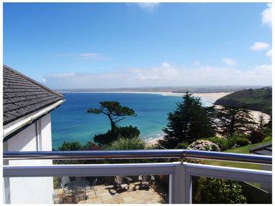 Photo for Stylish and private front line house with sea views in St Ives