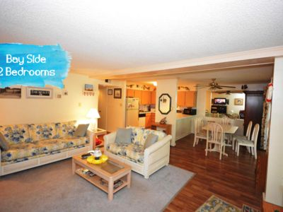 Photo for Cute, spacious 2 bedroom condo with an outdoor pool, and a woodsy view located uptown on the bayside and less than five blocks from the beach!