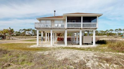 """Photo for Ready Now- No Storm Issues! FREE BEACH GEAR! East End Beach View, Pets, Pool, Screen Porch, 3BR/2BA """"In Turtle Time"""""""