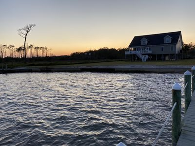 Picture of the house and sunset from the peer.