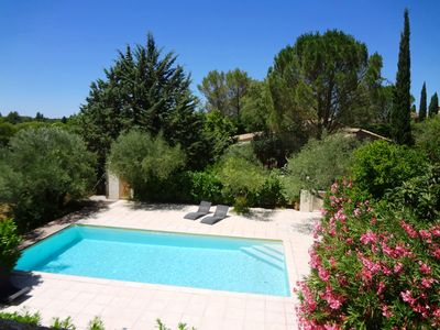 Photo for 100% quiet in Uzès! Swimming-pool 10X5m, 70m² with AC + private terrace, WIFI, 10 000m² garden