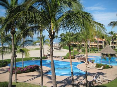From your balcony see the pool and hot tub and they lead right onto the beach.