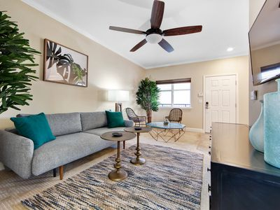 Photo for Contemporary getaway in a prime location w/ full kitchen, balcony, & shared gym