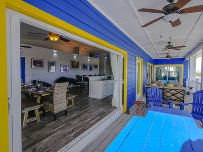 """Your own private pool, deck, outdoor lounge and sandy """"beach"""" area with umbrella"""
