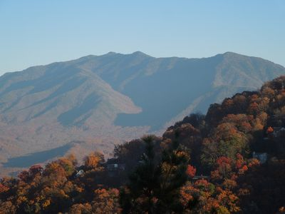 View of Mt LeConte off of  BearCub deck