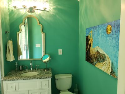 Photo for Spa bath, private deck with fairy lights, half mile to historic Hendersonville
