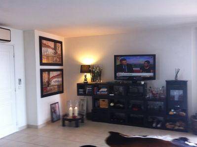 wall unit with television, dvd, electric log fire