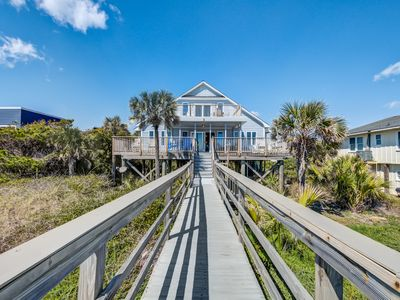 Photo for Oceanfront home w/two decks, game tables, & private boardwalk to the beach!