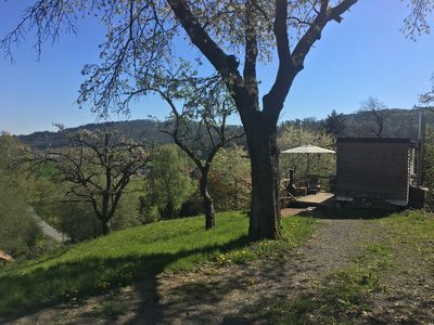 Photo for Bio Tinyhouse / log cabin with a view, fireplace, apple trees, animals
