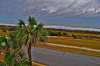 Stormy day at the beach.  View from the balcony.