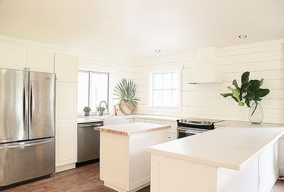 large gourmet Kitchen with ample counter space and storage.