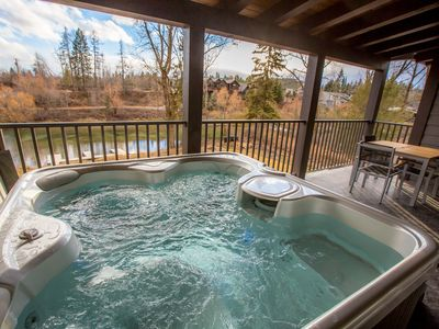 Photo for Whitefish River Front Townhouse w/ Private Dock + Hot Tub + Outdoor Fire Pits!!