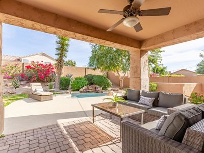 Photo for BRAND NEW TO VRBO! Private Backyard with Spool, BBQ and Fire pit! 5 Mins to TPC!