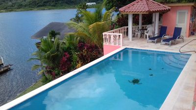 Our beautiful new pool overlooking the sea.