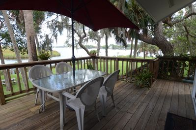 Outdoor dining is just steps away from the kitchen.