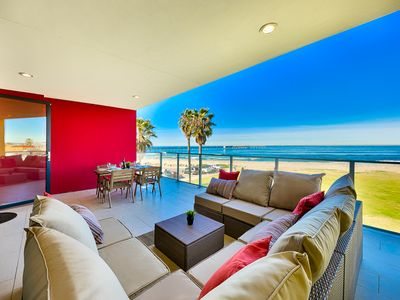 Photo for 10% OFF AUG - Modern Beachfront Condo, Views, Steps to Shops + More