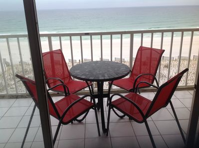 You can have beachside  coffee and breakfast on this patio, with room to spare!