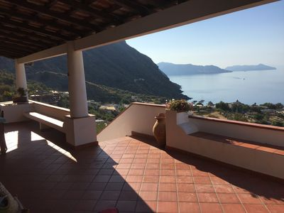 Photo for Lovely salina house with beautiful panoramic sea view
