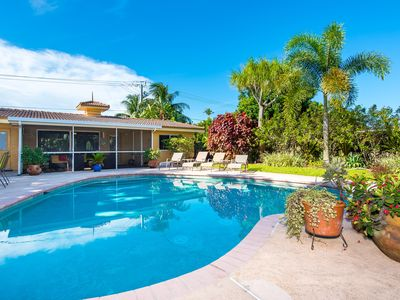 Photo for Large 2BR w/ Private Pool, Patio & BBQ – Walk to Dining, Near Beach