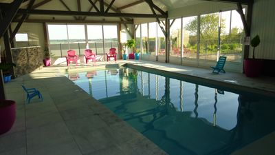 Photo for 3 * cottage on the farm, 12 places with indoor heated pool, castles