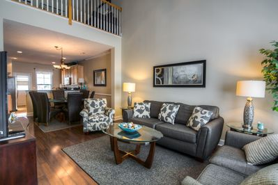 Open floor plan with two story living room