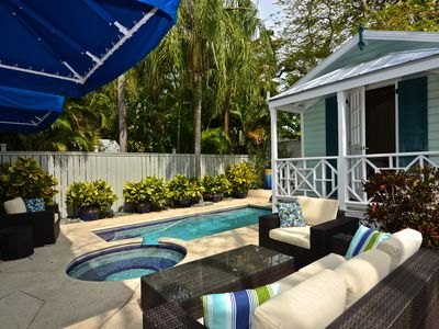 Photo for Cozy home w/ private pool & hot tub - walk to must-see attractions