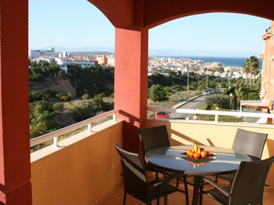 Photo for Beautiful 2nd Floor Apartment, Large Terrace, Sea Views, Private Pool, Air Con