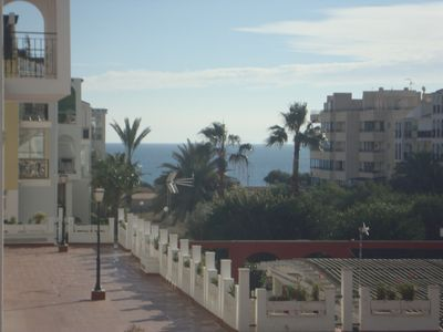 Photo for Apartment with sea view, 200 metres to Med. and 50 free use of Pool