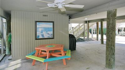 parking, rental storage area and patio