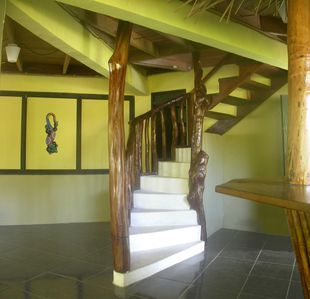 Unique Spiral Staircase heads to the 2nd floor Bedrooms & Deck