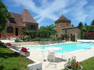 Photo for Old stone farmhouse, fenced, private heated pool, internet
