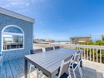Photo for Dog-friendly, ocean view home w/ deck & enclosed yard - 1 block to beach!